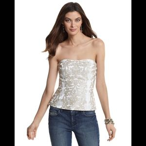 WHBM Ivory Embroidered Bustier